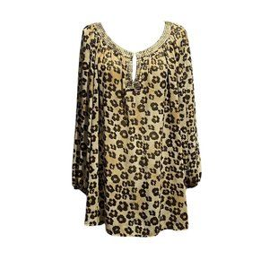 Leopard in Gold Blouse